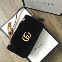 GUCCI Marmont Women Shopping Leather Metal Chain Crossbody Satchel Shoulder Bag Velvet Tagre™