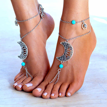 "Women Barefoot Sandal ""Moonlight party"", soleless sandals, boho jewelry, boho sandals, ankle jewelry, foot jewelry"