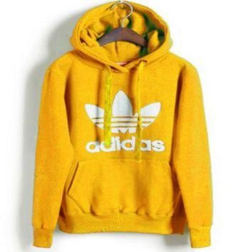 "Womens Yellow ""Adidas"" Print Hooded Pullover Tops Sweater Sweatshirts"