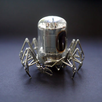 Vacuum Tube Spider Sculpture No 6 Mechanical Recycled Watch Parts Clockwork Arachnid Figurine Stems Lightbulb Arthropod A Mechanical Mind