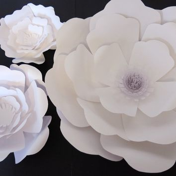 "Giant Paper Flowers set of 3 Wall any color 6-16"" Rose Wedding photography background bridal shower photo backdrop extra large wall flowers"