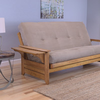 Rosemount Full Size Sofa Futon, Honey Oak Wood Frame With Suede Innerspring Mattress, Peat