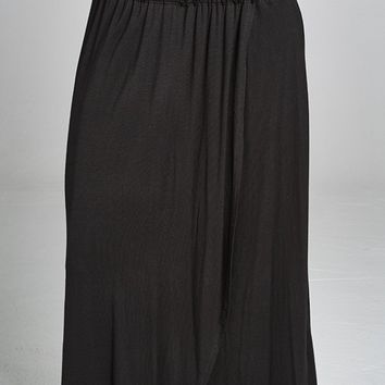 Smocking Tube Top Point Maxi Dress with Wrap Skirt Detail - Black
