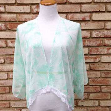 Mint Green Kimono, Lace Kimono Jacket, Short Cardigan, Gift For Her, Mother's Day, Chiffon Shrug, Boho Chic Bolero, Spring Summer, Handmade