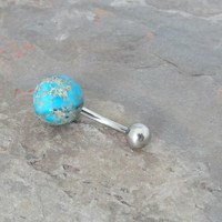 Round Blue Impression Stone Belly Button Jewelry Belly Ring