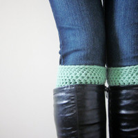 Crochet Boot Cuffs Socks Boot Toppers in Sea Green