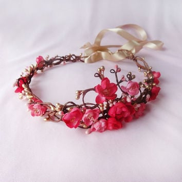 gold pink flower hair accessory pink flower by thehoneycomb