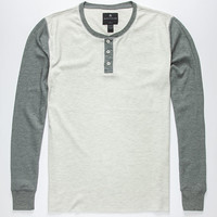 Shouthouse Colorblock Mens Thermal Henley Oatmeal  In Sizes