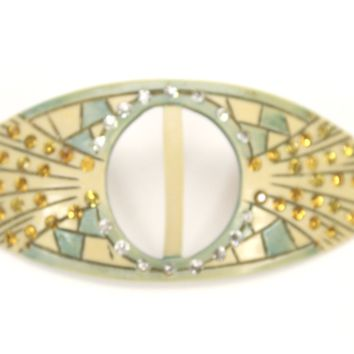 Vintage 1920s Art Deco Celluloid Buckle Hat Ornament Green Ivory Amber Rhinestones 3.5""
