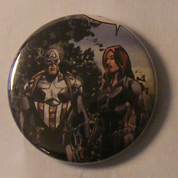 "Free Comic Book Day// Comic Book 1.5"" Button// Captain America (Bucky Barnes) and Black Widow"