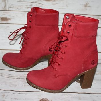 New Timberland Ruby Red Glancy 6-Inch Boots (US Size 6.5)