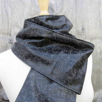 Black Leather Scarf of Distressed Sheepskin by Stacy by stacyleigh