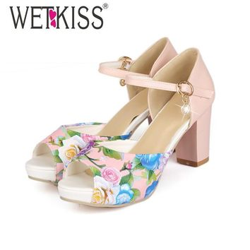 WETKISS Fashion Thick Heels Ankle Strap Mary Jane Sandals Flower Print Color Matching