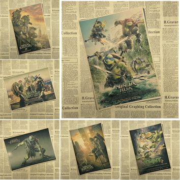 Teenage Mutant Ninja Turtles Movie Kraft Paper Poster Bar Cafe Living Room Dining room Wall Decorative Paintings