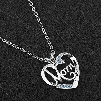"""925 Sterling Silver """"I Love You Mom"""" Heart Pendant with Rhinestone Necklace"""