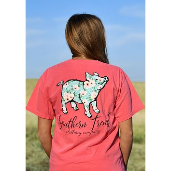 Floral Polka Dot S/S Proud Pig {Watermelon}