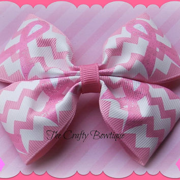 Breast Cancer ~ Boutique Hair Bow ~ Pink and White ~ Chevron Print ~ Pink Ribbon ~ Bows for a Cause ~ Big Bow ~ Zig Zag Ribbon