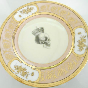 "Pink and Gold Skull Dinner Plate, 10.5"", Foodsafe, Vintage"
