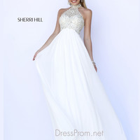 Choker Collar Neckline Formal Prom Gown By Sherri Hill 5204