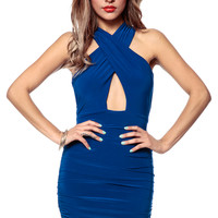 Spell Bound Ruched Royal Blue Dress