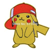 "3"" POKEMON GO PIKACHU Patch Embroidered MOVIE Costume Emblem Badge CREST applique Halloween cosplay"