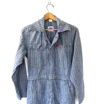 Vintage Denim BIG SMITH Jumpsuit car Mechanic Pants / striped Jeans Jumper / Romper / Coveralls Jumpsuit / Jumpsuit / Size 36 short