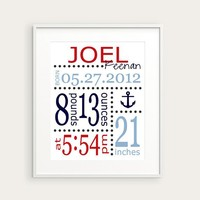 Nautical Nursery Decor - Anchor or Boat Art Print - Personalized Birth Announcement or Baby Gift, You Choose Illustration & Colors