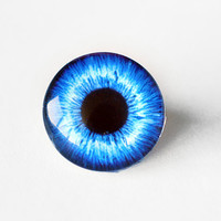 16mm handmade glass eye cabochon - blue eye