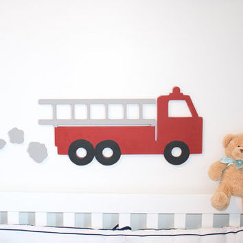 Red firetruck Vintage style with exhaust plumes vintage room decor truck baby nursery wooden truck wall decor