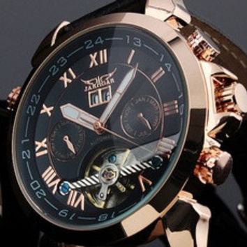 JARAGAR Luxury Auto Mechanical Watches 4 Hands Date Tourbillon Mens Wrist Watch Free Ship Gift Box [8321409799]