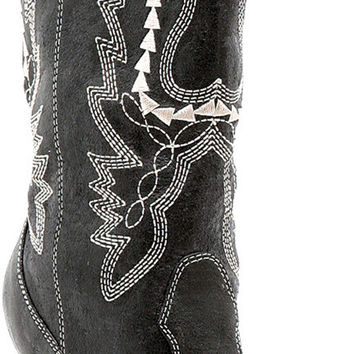 costume shoes: black cowgirl boots - women's | size: 7