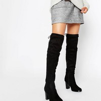Oasis Over the Knee Heeled Boots with Lace Up Detail at asos.com