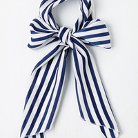 Nautical Bow to Stern Scarf in Navy Stripes by ModCloth