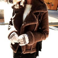 2016 Winter Woman Shearling Coats Suede Leather Jackets Coat Faux Lambs Wool Patchwork Coat Outerwear Plus Size 4XL 5XL 6XL W525
