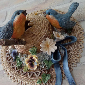 Cute Bluebird & Flower Trimmed Straw Hat, Resin Bradford Exchange Bluebird Bungalow Wall Hanging