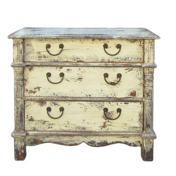 Rustic Yellow Cream Lacquer Three Drawers Dresser Cabinet cs615S