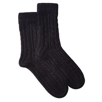 One Kings Lane - Cuddle Up - Cashmere Cable Socks, Black