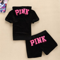 """Victoria Pink""Fashion short sleeve leisure Sport suit natsushio Black"
