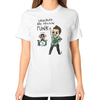 Ukuleles are frickin punk Unisex T-Shirt (on woman)