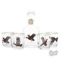 Upland Gamebirds Whiskey Decanter Set w/ 4 Tapered Old Fashion Glasses