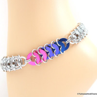 Bi pride chainmaille anklet, vertebrae weave with anodized aluminum washers