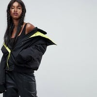 ASOS Bomber Jacket with Double Collar at asos.com