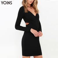 New Women Sexy V-neck Bodycon Long sleeve Mini Dress Fashion Cut Out Back Dresses Party Night Club Wear