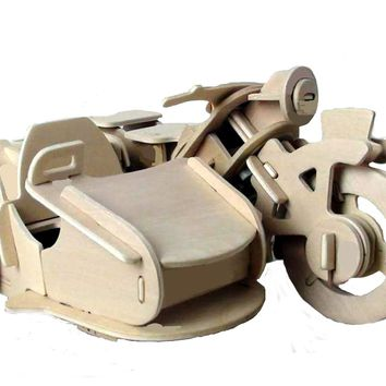 Robotic 3D Wooden Puzzle - Motorcycle w/Sidecar 8+