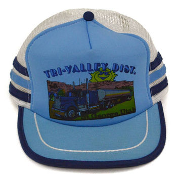 Vintage 80s Tri-Valley Distilled. St. George Utah Trucker Mesh Snapback Cap Hat