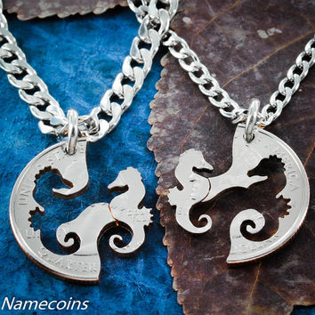 Seahorse Necklace set, Friendship Jewelry, Interlocking hand cut ocean and marine animal coin