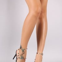 Clear Straps Pyramid Stud Open Toe Heels