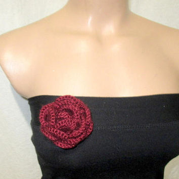 Crochet flower brooch,  Flower brooch, Knit Flower, Crochet jewelry, Flower corsage, Flower pin, Crochet accessory, Crochet rose, Corsage