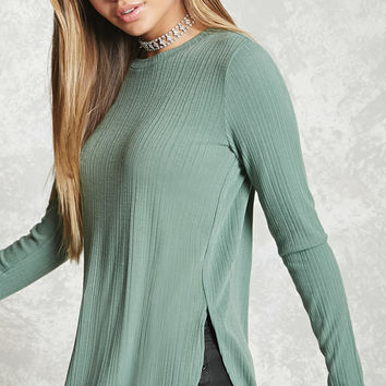 Ribbed Dolphin Hem Top