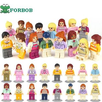 16pcs/lot Building Blocks Compatible Legoings  Minifigs City Girls Friends Figurines set educational learning toys for baby girl